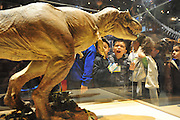 Jesse Perez, a first grader at John J. Pershing elementary school, makes a face at one of the dinosaur models at the Perot Museum of Nature and Science in Dallas on Thursday, April 4, 2013. (Cooper Neill/The Dallas Morning News)