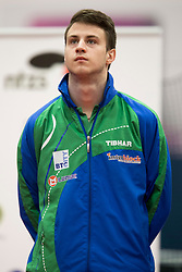 Deni Kozul of Slovenia during Qualification match between National teams of Slovenia and Belgium for ITTF European Championship 2019, on February 27, 2018 in Otocec, Slovenia. Photo by Urban Urbanc / Sportida