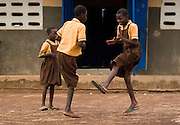 Mariam Alhassan, 11, (right) and her classmates play ampe, a traditional game based on jumping, clapping hands, and rhythm, outside the Anglican Primary School in the Savelugu-Nanton district, northern Ghana on Wednesday June 6, 2007.