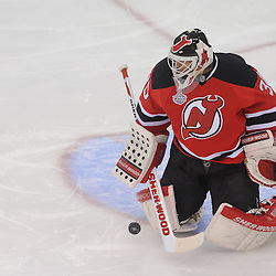 June 2, 2012: New Jersey Devils goalie Martin Brodeur (30) makes a kick save during first period action in game 2 of the NHL Stanley Cup Final between the New Jersey Devils and the Los Angeles Kings at the Prudential Center in Newark, N.J.