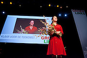 Femke Halsema wordt op de 28e partijcongres van GroenLinks in Vredenburg Leidsche Rijn in Utrecht opnieuw gekozen als lijsttrekker van de partij. <br /> <br /> At the party congress, Femke Halsema is re-elected as leader of the party GroenLinks.