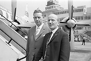 24/05/1964<br /> 05/24/1964<br /> 24 May 1964<br /> Irish delegates leave for International Seed Trade Conference in Venice. Mr Michael Wallis, President of the Irish Seed Trade Association and Director of Townsend-Flahavan Seeds Ltd., Kilmacthomas, Co. Waterford and Mr Denis Coakley, Vice President of the Irish Seed Trade Association and Managing Director of Denis Coakley and Co. Ltd., Seed Merchants, Lower Kevin Street, Dublin, left Dublin for Venice to attend the International Seed Trade Convention that was to be attended by 1,200 delegates including 11 Irish. Picture shows Mr Wallis (right) and Mr Coakley about to board their plane at Dublin Airport.