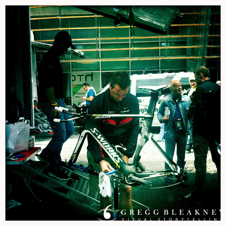 HTC's stage winning Specialized Shiv time trial bike - 2011 Tour de France - Stage 20 Time Trial - Grenoble, France