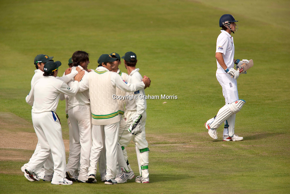 Alastair Cook walks off after being bowled by Mohammad Amir during the second npower Test Match between England and Pakistan at Edgbaston, Birmingham.  Photo: Graham Morris (Tel: +44(0)20 8969 4192 Email: sales@cricketpix.com) 09/08/10