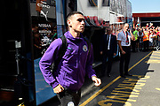 John Stones (5) of Manchester City gets off the team bus on arrival to the Vitality Stadium ahead of the Premier League match between Bournemouth and Manchester City at the Vitality Stadium, Bournemouth, England on 25 August 2019.