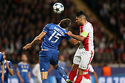 ANDREA BARZAGLI of Juventus duels for the ball with RADAMEL FALCAO of Monaco during the UEFA Champions League semi final football match, 1st leg, between AS Monaco and Juventus FC on May 3rd, 2017 at Louis II Stadium in Monaco - Photo Manuel Blondeau / AOP Press /