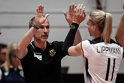 16.05.2019, Montreux, SUI, Montreux Volley Masters 2019, Deutschland vs Polen, im Bild Andreas Vollmer (Germany Assistant Coach) and Louisa Lippmann (Germany #11) // during the Montreux Volley Masters match between Germany and Poland in Montreux, Switzerland on 2019/05/16. EXPA Pictures © 2019, PhotoCredit: EXPA/ Eibner-Pressefoto/ beautiful sports/Schiller<br /> <br /> *****ATTENTION - OUT of GER*****