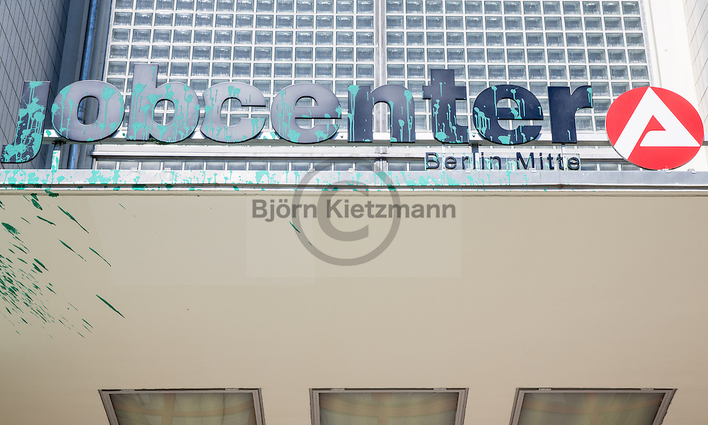 Berlin, Germany - 24.06.2016 <br /> <br /> Paint attack on the job center in Berlin-Wedding. In a video claiming responsibility relation was taken to part eviction of left houseproject Rigaer94.<br /> <br /> Farbanschlag auf das Jobcenter in Berlin-Wedding.In einem Bekennervideo wurde sich auch auf die Teilraeumung des linken Hausprojekts Rigaer94 bezogen.<br /> <br /> Photo: Bjoern Kietzmann