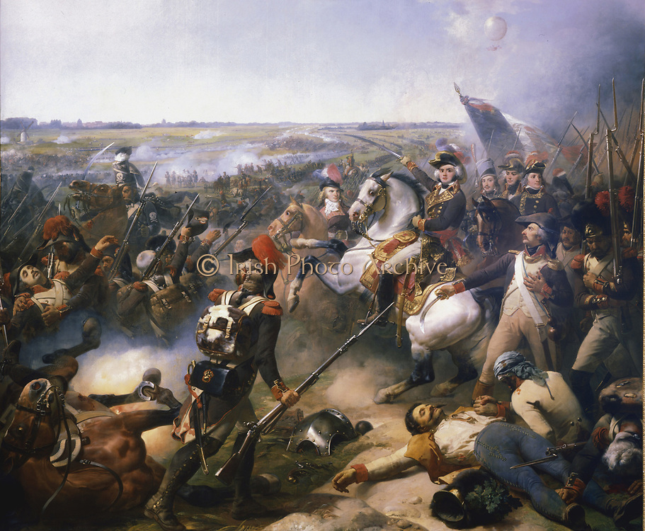 Battle of Fleurus, 16 June 1794.  Marshal Jean Baptiste Jourdan (1762-1833) victorious against the Austrians.  This was the first use of a hot air balloon (Montgolfier) in warfare. The balloon is in top right of picture. The French used it for reconnaisance. Galerie des Batailles, Versailles.