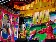 17 OCTOBER 2018 - BANGKOK, THAILAND:  The Chinese opera on the last night of the Vegetarian Festival at Chit Sia Ma Shrine in Bangkok's Chinatown. The Vegetarian Festival, also called the Nine Emperor Gods Festival, is a nine-day Taoist celebration beginning on the eve of 9th lunar month of the Chinese calendar. Traditional Chinese operas, called Ngiew in Thailand, are sponsored at many Chinese shrines and temples during the Vegetarian Festival.   PHOTO BY JACK KURTZ