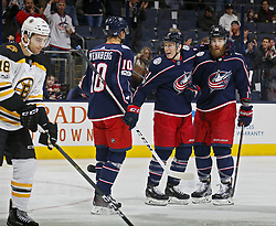 October 30, 2017 - Columbus, OH, USA - Columbus Blue Jackets defenseman David Savard (58) celebrates his goal with teammates left wing Matt Calvert (11) and center Alexander Wennberg (10) during the 1st period of their game against Boston Bruins at Nationwide Arena in Columbus, Ohio on Oct. 30, 2017. (Credit Image: © Kyle Robertson/TNS via ZUMA Wire)