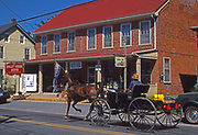 Amish farm buggy travels through Intercourse, Lancaster Co., PA