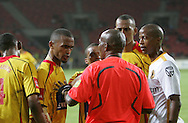 Tyren Arendse argues with referee Harry Lekitlane after his decision to disallow Santos' goal during the PSL match between Santos and Kaizer Chiefs held at The Nelson Mandela Bay Stadium in Port Elizabeth, Eastern Cape South Africa on 20 November 2009 ..Photo by RG/www.sportzpics.net.+27 21 (0) 21 785 6814