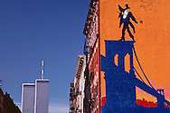 Twin Towers, Mural Soho, Manhattan, NYC, NY, Mural Soho, World Trade Centerdesigned by Minoru Yamasaki, International Style II