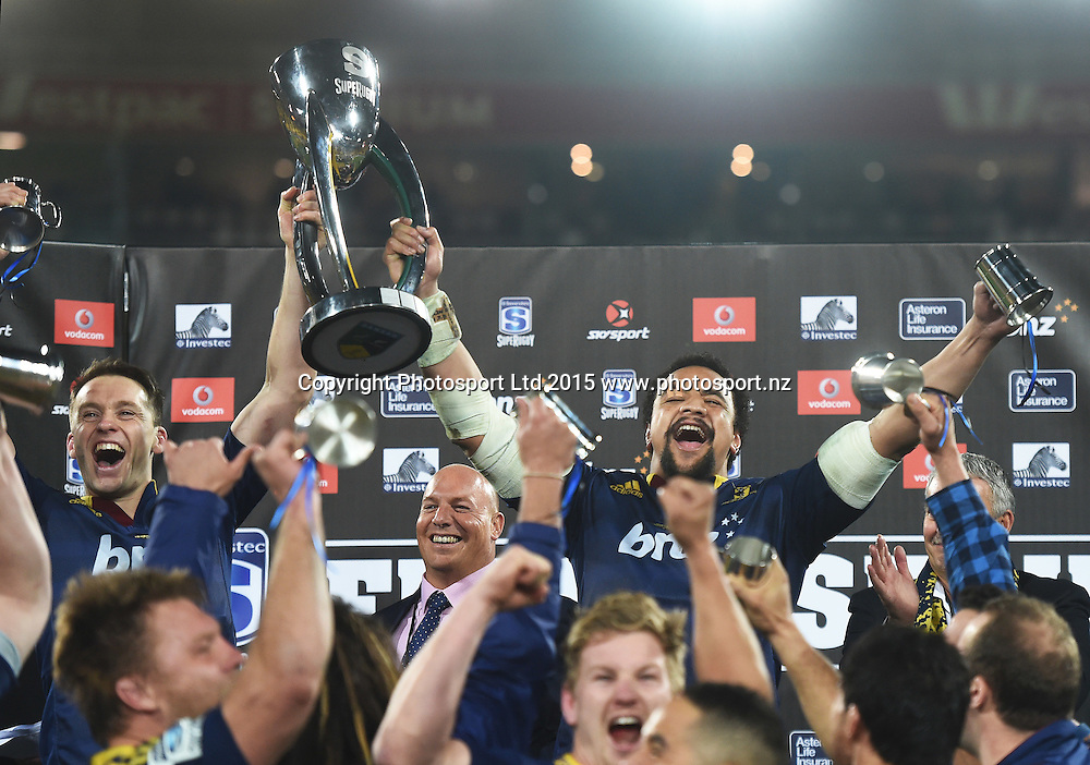 Ben Smith and Nasi Manu hold aloft the Super Rugby Trophy during the Super Rugby Final between the Hurricanes and Highlanders at Westpac Stadium in Wellington., New Zealand. Saturday 4 July 2015. Copyright Photo: Andrew Cornaga / www.Photosport.nz