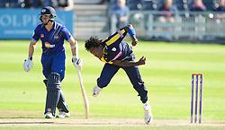 Hampshire's Fidel Edwards bowls.  - Mandatory byline: Alex Davidson/JMP - 07966386802 - 26/08/2015 - Cricket - County Ground -Bristol,England - Gloucestershire v Hampshire  - Royal London One Day Cup Quarter-Final - Quarter Final