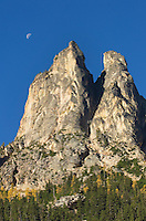 Moon setting above Early Winters Spires, North Cascades Washington