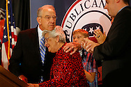 Sen. Chuck Grassley hugs his wife, Barbara, Tuesday, Nov. 8, 2016, after thanking supporters and family during the Republican Election Night Party in downtown Des Moines.