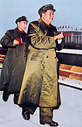 Mao Tse-Tung (Mao Zedong) 1893-1976 1893-1976, Chinese Communist leader, centre, followed by LIN BIAO (1908-1971) Chinese soldier and politician, holding the 'Little Red Book'.