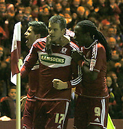 Picture by Paul Gaythorpe/Focus Images Ltd +447771 871632.26/12/2012.Middlesbrough players congratulates Lucas Jutkiewicz on scoring the winning goal against Blackburn Rovers during the npower Championship match at the Riverside Stadium, Middlesbrough.