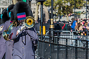 The Guards Band leaves the Cenotaph - Remembrance Sunday and Armistice Day commemorations fall on the same day, remembering the fallen of all conflicts but particularly the centenary of the end of World War One.