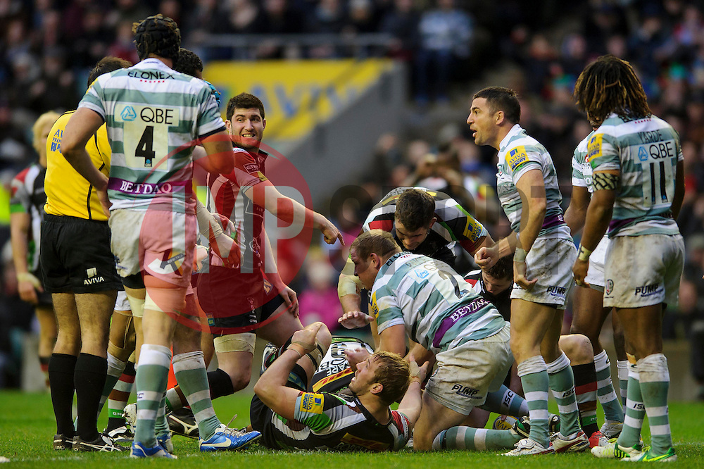 Harlequins players react as Scrum-Half (#9) Danny Care appears to touch the ball down for a TMO confirmed try during the second half of the match - Photo mandatory by-line: Rogan Thomson/JMP - Tel: Mobile: 07966 386802 29/12/2012 - SPORT - RUGBY - Twickenham Stadium - London. Harlequins v London Irish - Aviva Premiership - LV= Big Game 5.