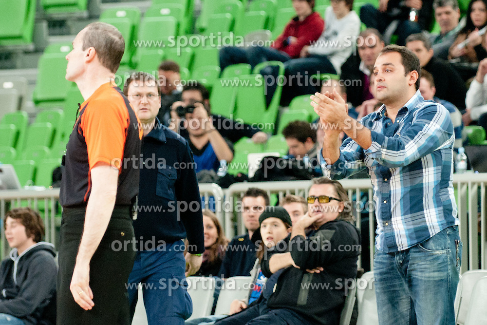 Fans during basketball match between KK Union Olimpija and Unics Kazan (RUS) of 10th Round in Group D of Regular season of Euroleague 2011/2012 on December 21, 2011, in Arena Stozice, Ljubljana, Slovenia. Unics Kazan defeated Union Olimpija 76:63.(Photo by Matic Klansek Velej / Sportida)