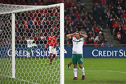 Northern Ireland's Conor Washington rues a missed chance to score during the FIFA World Cup Qualifying second leg match at St Jakob Park, Basel.