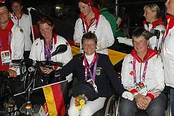 Zeibig, Steffen;<br /> Trabert, Angelika;<br /> Weifen, Lena;<br /> Brenner, Hannelore;<br /> Näpel, Britta, <br /> London Paralympics 2012<br /> Siegerehrung Garde III + Garde 1a<br /> © www.sportfotos-lafrentz.de/ Stefan Lafrentz