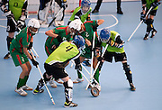 Preliminary match floor hockey between Poland (light green) and Morocco (dark green) during 2013 Special Olympics World Winter Games PyeongChang at Gangneung Sports Centre on January 31, 2013...South Korea, PyeongChang, January 31, 2013..Picture also available in RAW (NEF) or TIFF format on special request...For editorial use only. Any commercial or promotional use requires permission...Photo by © Adam Nurkiewicz / Mediasport