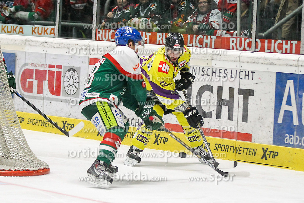 04.01.2015, Curt Frenzel Stadion, Augsburg, GER, DEL, Augsburger Panther vs Krefeld Pinguine, 35. Runde, im Bild l-r: im Zweikampf, Aktion, mit Mike Connoly #48 (Augsburger Panther) und David Fischer #3 (Krefeld Pinguine) // during Germans DEL Icehockey League 35th round match between Augsburger Panther and Krefeld Pinguine at the Curt Frenzel Stadion in Augsburg, Germany on 2015/01/04. EXPA Pictures © 2015, PhotoCredit: EXPA/ Eibner-Pressefoto/ Kolbert<br /> <br /> *****ATTENTION - OUT of GER*****