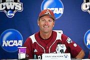 OMAHA, NE - JUNE 17:   Head Coach Dave Van Horn of the Arkansas Razorbacks smiles during the post game press conference after a game against the Virginia Cavaliers at the College World Series on June 17, 2009 at Rosenblatt Stadium in Omaha, Nebraska.  Arkansas defeated Virginia 4 - 3 in 12 innings.  (Photo by Wesley Hitt/Getty Images) *** Local Caption *** Dave Van Horn