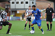 AFC Wimbledon striker Andy Barcham (17) dribbling into box during the EFL Sky Bet League 1 match between AFC Wimbledon and Rochdale at the Cherry Red Records Stadium, Kingston, England on 30 September 2017. Photo by Matthew Redman.