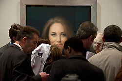 Press gather at the first official painted portrait of the Duchess of Cambridge on display at the National Portrait Gallery from today, painted by artist Paul Elmsley, London, UK, January 11, 2013. Photo by i-Images.