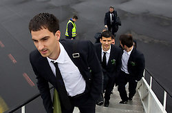 Branko Ilic and Aleksander Radosavljevic at departure of Slovenia's National football team to Belfast, Northern Ireland for EURO 2012 Quaifications game between National teams of Slovenia and Northern Ireland, on March 28, 2011, at Airport Edvard Rusjan, Maribor, Slovenia.  (Photo by Vid Ponikvar / Sportida)