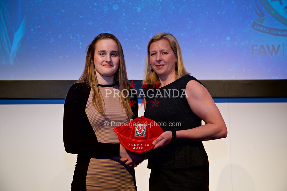 NEWPORT, WALES - Saturday, May 27, 2017: Anna Morphet receives her Under-16 Wales cap from Wales women's team manager Jayne Ludlow at the Celtic Manor Resort. (Pic by David Rawcliffe/Propaganda)