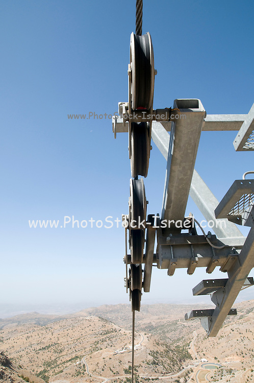 Israel, Golan Heights, Mount Hermon in Summer. The skilift pulley-block