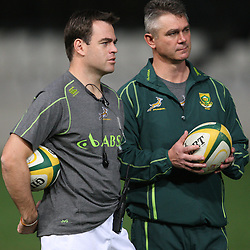 DURBAN, SOUTH AFRICA - JUNE 08, Johann van Graan Forwards Coach with Springbok coach Heyneke Meyer  during the South African national rugby team Captains Run at Mr Price Kings Park on June 08, 2012 in Durban, South Africa<br /> Photo by Steve Haag / Gallo Images