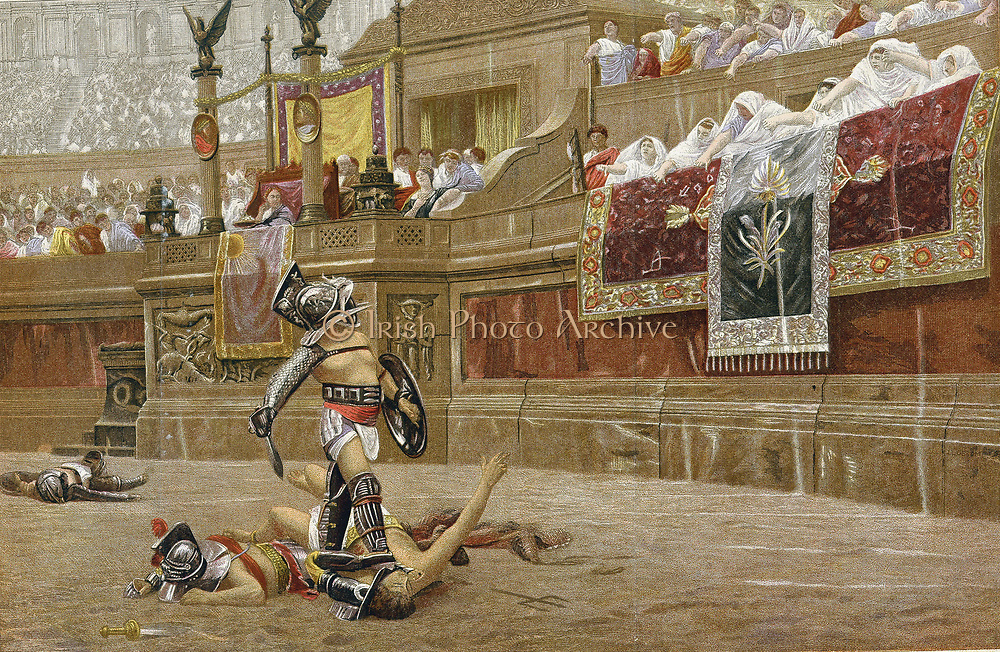 Gladiators in the Roman arena: spectators are giving the 'thumbs down', signalling the victor not to spare his adversary. Chromolithograph after the painting by JL Gerome.