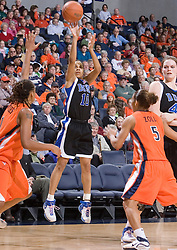 Duke Blue Devils Guard Lindsey Harding (10) shoots over Virginia Cavaliers Forward Lyndra Littles (1).  The University of Virginia Cavaliers lost to the #1 ranked Duke University Blue Devils 76-61 at the John Paul Jones Arena in Charlottesville, VA on February 2, 2007.