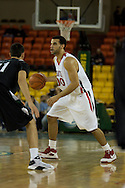 November 29th, 2008:  Anchorage, Alaska - Seattle University forward Mike Boxley (00) looks for a pass past Portland State's Phil Nelson (21) in the third place game on the final day of the Great Alaska Shootout.