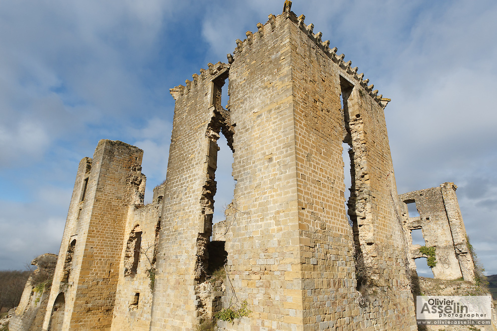 Ruins of the Chateau de Lagarde, castle, in the town of Lagarde, Ariege, Midi-Pyrenees, France.