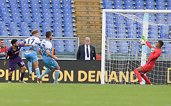 October 7, 2018 - Rome, Italy - Ciro Immobile kicks goal 1-0 during the Italian Serie A football match between S.S. Lazio and Fiorentina at the Olympic Stadium in Rome, on october 07, 2018. (Credit Image: © Silvia Lore/NurPhoto/ZUMA Press)