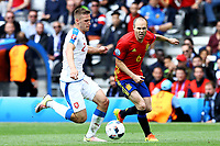 Pavel Kaderabek Czech, Andres Iniesta Spain <br /> Toulouse 13-06-2016 Stade de Toulouse Footballl Euro2016 Spain - Czech Republic  / Spagna - Repubblica Ceca Group Stage Group D. Foto Matteo Ciambelli / Insidefoto