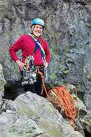 Man with climbing gear.