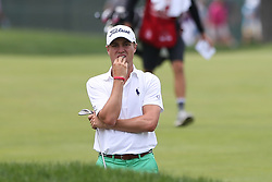 June 22, 2018 - Cromwell, Connecticut, United States - Justin Thomas reacts after chipping on to the 9th green during the second round of the Travelers Championship at TPC River Highlands. (Credit Image: © Debby Wong via ZUMA Wire)