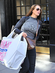 (UK RIGHTS ONLY) Actress Brooke Shields wearing a blue & grey O'Neill surfing top, grey tracksuit bottoms and black boots shopping at The Container Store in New York. USA. 03/10/2012<br />BYLINE MUST READ : EAGLEPRESS/GOTCHA IMAGES<br /><br />Copyright by © Gotcha Images Ltd. All rights reserved.<br />Usage of this image is conditional upon the acceptance <br />of Gotcha Images Ltd, terms and conditions available at<br />www.gotchaimages.com
