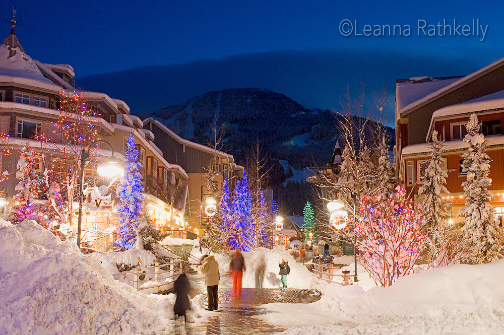 whistler village sparkles with christmas lights after a fresh snowfall on a winter evening - Snowfall Christmas Lights