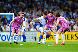 Jonson Clarke-Harris of Bristol Rovers challenges Ian Henderson of Rochdale - Mandatory by-line: Ryan Hiscott/JMP - 22/04/2019 - FOOTBALL - Memorial Stadium - Bristol, England - Bristol Rovers v Rochdale - Sky Bet League One