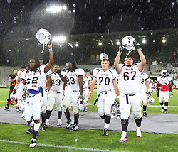 10.07.2011, Tivoli Stadion, Innsbruck, AUT, American Football WM 2011, Group A, Germany (GER) vs United States of America (USA), im Bild Team USA after the win against germany // during the American Football World Championship 2011 Group A game, Germany vs USA, at Tivoli Stadion, Innsbruck, 2011-07-10, EXPA Pictures © 2011, PhotoCredit: EXPA/ T. Haumer